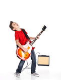 boy sings and plays on the electric guitar
