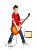 white boy sings and plays on the electric guitar
