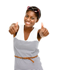 Happy African American Woman holding thumbs up isolated white ba