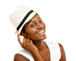 Beautiful African American Woman Close up portrait isolated on w