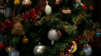 Closeup of Christmas tree decorations