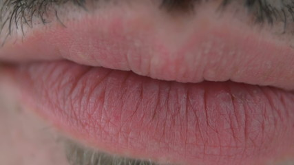 Man mouth and eye macro