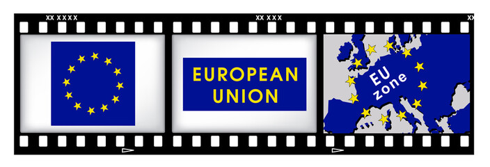 Europe signs on film background
