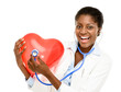 Happy African American trusted Nurse holding Red heart isolated
