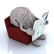 human brain reading a newspaper from the couch