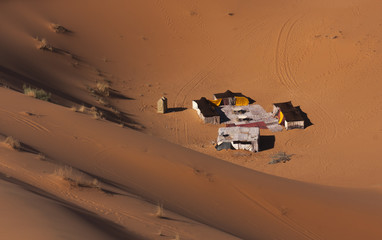 Nomadic tents in the Sahara desert dunes