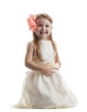 Happy little girl in long dress poster