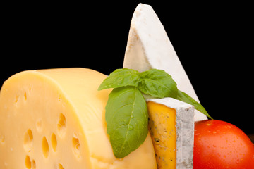 Various types of cheese on  black background