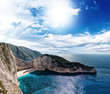 The famous Navagio beach in Zakynthos