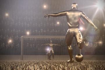 Fussballspieler Torschuss Stadion Gold 3D