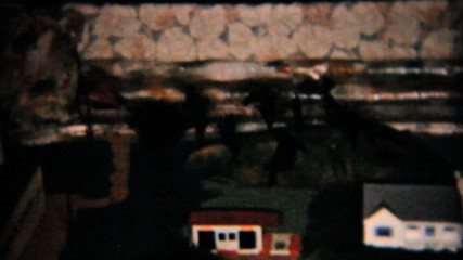 Model Railroad Train Set Under Christmas Tree-1958 Vintage 8mm
