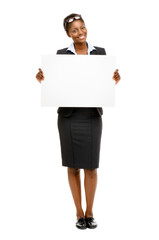 Happy African American business woman holding banner isolated on