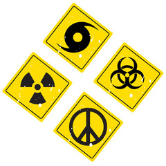 hurricane warning sign, pacific, radiation and biological sign