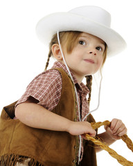 Looking Up at a Young Riding Cowgirl