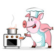 Pig cook - chef holds, isolated on white background.