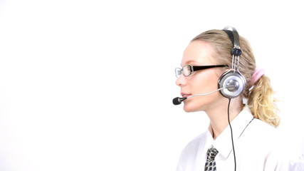 Woman working in a call center
