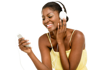 Happy African American woman listening to music
