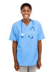 Happy Black African American female nurse white background