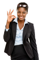 Happy African American business woman okay sign isolated on whit