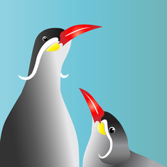 Birds on a blue background with a red lip
