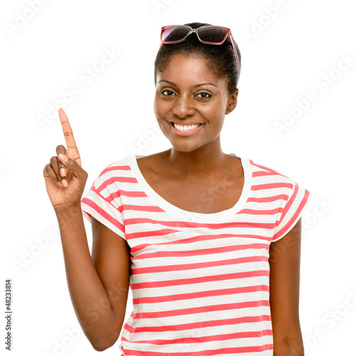 Happy African American business woman thinking of idea isolated