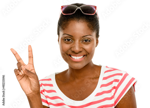 Beautiful African American woman peace sign isolated on white ba