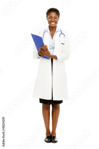 Happy African American trusted Nurse Doctor Woman isolated on wh