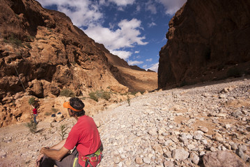 People climbing in the Moroccan Todra Gorges
