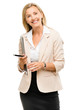 Happy mature businsswoman holding clipboard isolated on white ba