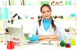 Young female scientist in  laboratory.