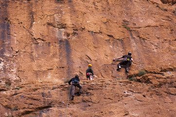 climbing team exploring a wall in Morocco