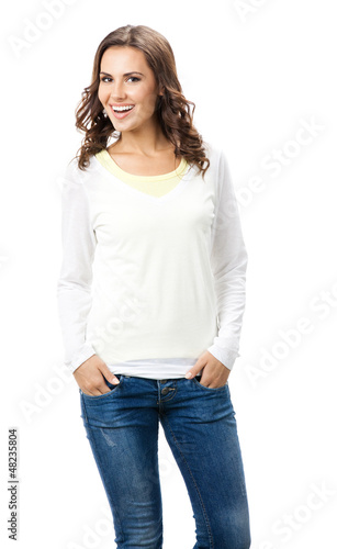Smiling beautiful young woman, isolated