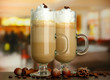 Fragrant coffee latte in glasses cups with spices,