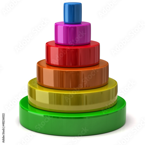 Illustration of layered colorful pyramid