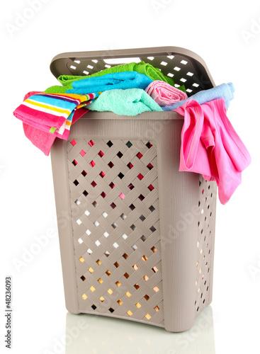 Beige laundry basket isolated on white