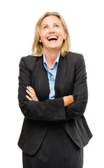 Happy mature business woman laughing isolated on white backgroun