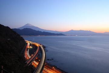 Night view of Mt. Fuji and Tomei Expressway