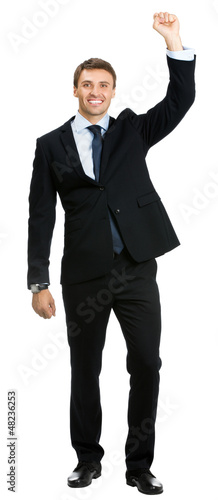 Happy gesturing smiling business man , isolated