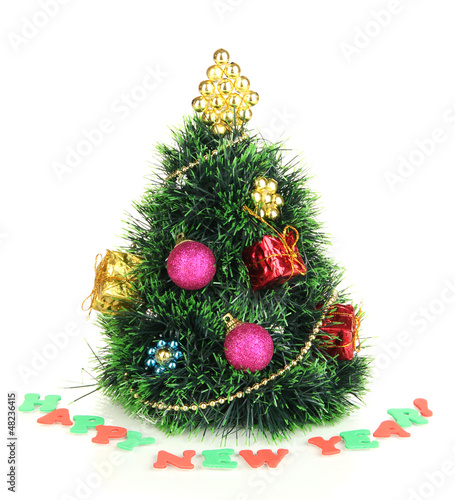 Decorated artificial Christmas Tree isolated on white