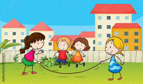 Kids playing rope