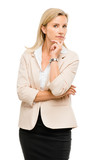 Mature Business Woman Thinking Isolated White Background