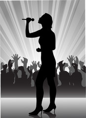 singer at the microphone