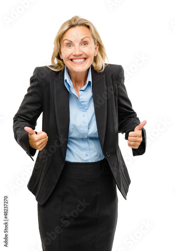 Happy mature business woman thumbs up isolated on white backgrou