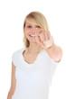 Attraktives Mädchen zeigt mit dem Finger