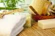 Bath salt and towel on bamboo mat spa concept still life