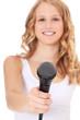 Attraktive junge Frau bittet um ein Interview