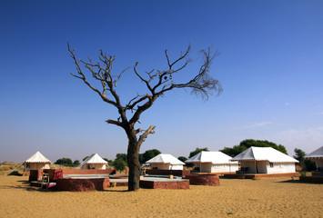 tent camp near desert