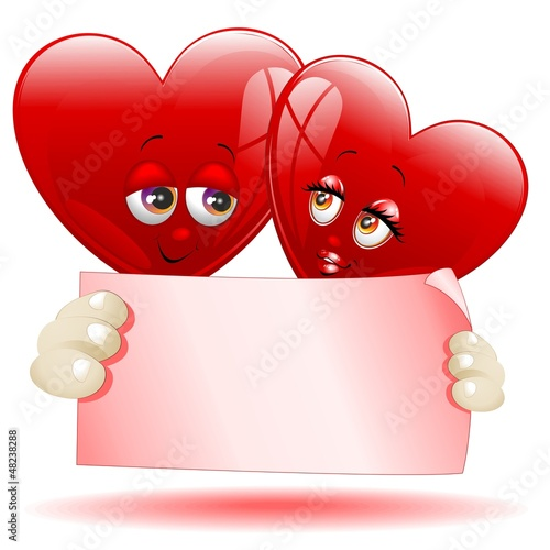 Hearts Cartoon Love Message-Cuori Cartoon Auguri d'Amore-Vector