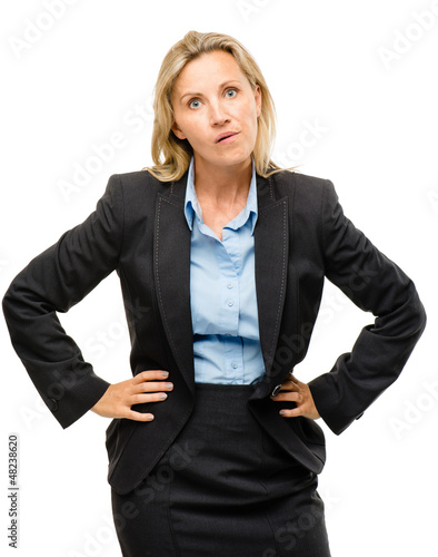 Stupid mature business woman isolated on white background