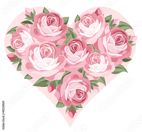 Heart of pink roses. Vector illustration.